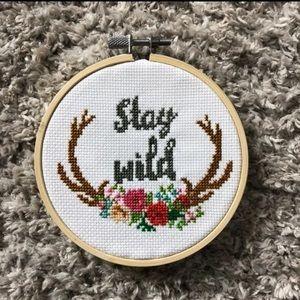 Stay wild cross stitch